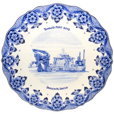 Wandbord nr. 42 Delfts blauw schip van Oort