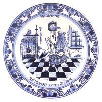 "Geboortebord nr. 20 Delfts blauw ""Ooievaar"""